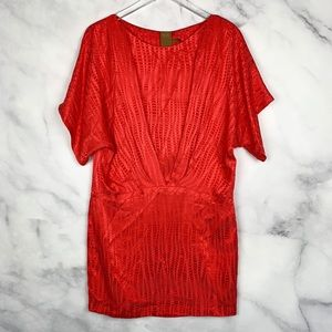 Ali Ro 100% Silk Geometric Kaftan Mini Dress Boho